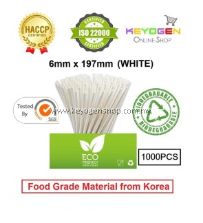 Keyogen 1000pcs 6mm x 197mm Eco Biodegradable Paper Straw White ( Food Grade ) - HACCP - for restaurant