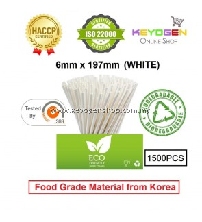 Keyogen 1500pcs 6mm x 197mm Eco Biodegradable Paper Straw White ( Food Grade ) - HACCP - for restaurant