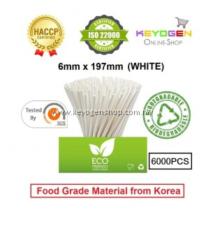 Keyogen 6000pcs 6mm x 197mm Eco Biodegradable Paper Straw White ( Food Grade ) - HACCP - for restaurant