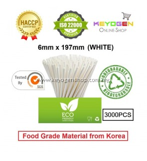 Keyogen 3000pcs 6mm x 197mm Eco Biodegradable Paper Straw White( Food Grade )HACCP - for restaurant
