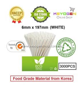 Keyogen 3000pcs 6mm x 197mm Eco Biodegradable Paper Straw White( Food Grade )HACCP - for restaurant