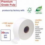 3 carton 36 roll Premium grade Virgin Pulp Jumbo roll tissue toilet paper JRT
