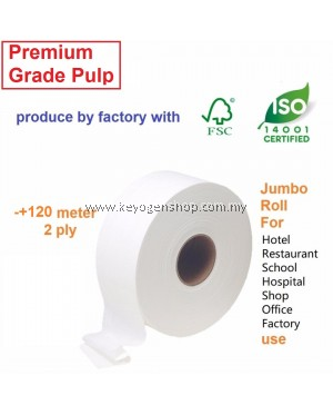 Keyogen 2 rolls 100% Premium Grade Jumbo Roll Tissue toilet paper - produce by company with FSC and ISO14000 certification JRT