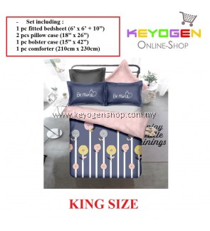 Keyogen Colour Aloe Bedding Set - COMFORTER ALOE BE MINE (King Size) - 1 Bed Sheet + 2 Pillow Cover + 1 Bolster Cover + 1 Comforter