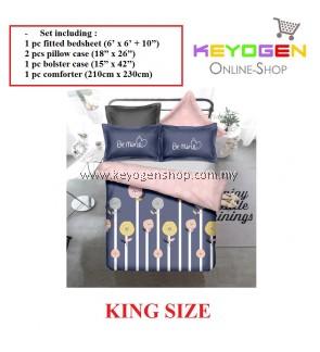 Keyogen Colour Aloe Bedding Set - COMFORTER ALOE BE MINE (King Size) - 1 Bed Sheet + 2 Pillow Cover + 1 Bolster Cover + 1 Comforter