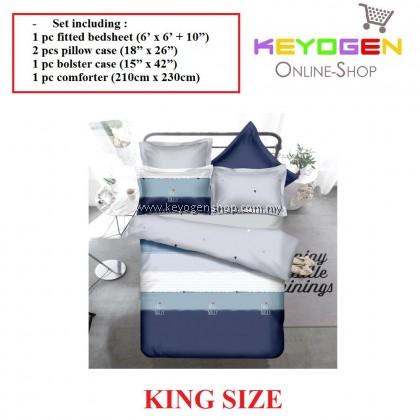 Keyogen Colour Aloe Bedding Set - COMFORTER ALOE FRI-NALLY (King Size) 1 Bed Sheet + 2 Pillow Cover + 1 Bolster Cover + 1 Comforter