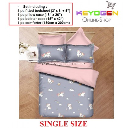 Keyogen Colour Aloe Bedding Set - COMFORTER ALOE GREY UNICORN(Single) 1 Bed Sheet + 1 Pillow Cover + 1 Bolster Cover + 1 Comforter