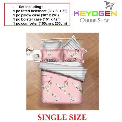 Keyogen Colour Aloe Bedding Set - COMFORTER ALOE FEATHER PINK FLOWER (Single Size) -1 Bed Sheet + 1 Pillow Cover + 1 Bolster Cover + 1 Comforter