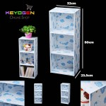 Keyogen Printed Cartoon Design 3 Tier wooden multipurpose Utility stor (Blue Bear Design)