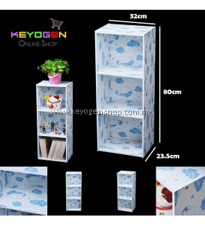 Keyogen  3 Tier Printed Cartoon Design wooden multipurpose Utility stor (Blue Bear Design)