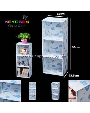 Keyogen  3 Tier Printed Cartoon Design wooden multipurpose Utility stor (Blue Bear Design)