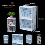 Keyogen Printed Cartoon Design 2 Tier wooden multipurpose Utility stor (Blue Bear Design)