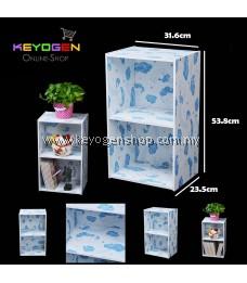 Keyogen Printed Cartoon Design 2 Tier wooden multipurpose Utility stor (Blue Bear Design)