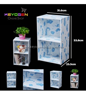 Keyogen 2 Tier Printed Cartoon Design wooden multipurpose Utility stor (Blue Bear Design)