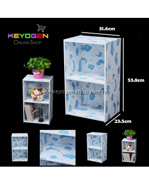 Keyogen 2 Tier Printed Cartoon Design wooden multipurpose Utility stor (Blue Bear Design)