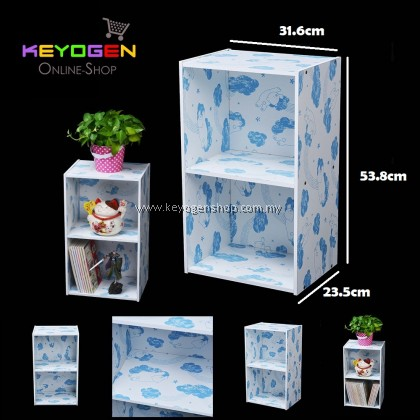 (Self Collect) Keyogen 2 Tier Printed Cartoon Design wooden multipurpose Utility stor (Blue Bear Design)
