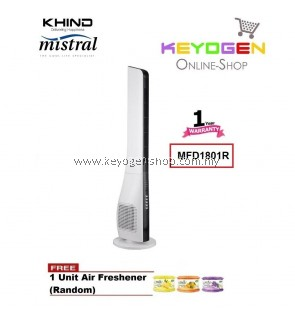 KHIND Mistral Tower Fan MFD1801R - 3-Speed - 1 Year Warranty FREE 1 Unit Air Freshener (Random)