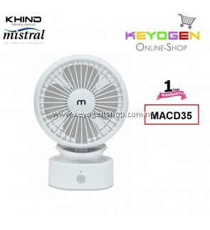 (FREE SHIPPING) Khind Mistral USB Rechargable Mini Fan MACD35 - Adjustable neck up to 30 degrees - 1 Year Warranty
