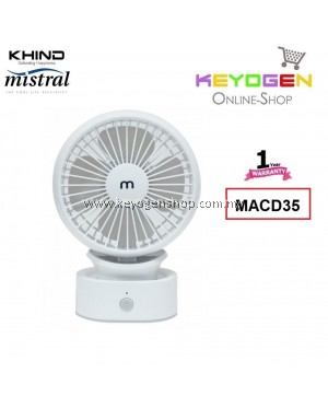 KHIND Mistral USB Rechargable Mini Fan MACD35 - Adjustable neck up to 30 degrees - 1 Year Warranty