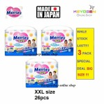 Super Jumbo Pack Made in Japan - 3 Pack XXL size 26 pcs Merries baby premium grade walker pant diapers - extra comfort (BIG SIZE)