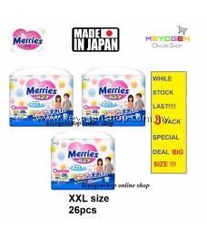 Super Jumbo Pack Made in Japan - 3 Pack XXL size 26 pcs Merries baby premium grade walker pant diapers - extra comfort (BIG SIZE)