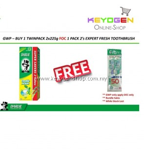 Darlie Toothpaste Double Action Super Saver BUY 2 X 225g FREE 1 Pack 2's Expert Fresh Toothbrush
