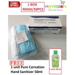 (MCO SAVE MORE PROMO!!!) Face Mask Keyogen 50 pcs 3 ply Disposable Surgical Face Mask - non woven - ear loop - anti Haze - READY STOCK IN MALAYSIA FREE 1 Unit PURE CARNATION Hand Sanitizer 50ml