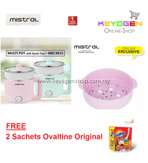 [READY STOCK] Mistral 1.5L Multi-Pot Electric Cooker With Steam Tray MEC3015 - 1 Year Warranty FREE 2 sachets Ovaltine Original (PINK)