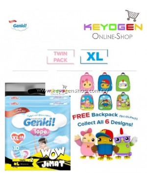 Genki! X Didi & Friends SPECIAL AUGUST 2020 Baby diaper TAPE 2 PACK Mega pack XL size 48pcs - Japan technology WOW JIMAT TWINPACK- 6 Design to collect while stock lasts!!!