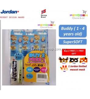 Jordan Kids Buddy ( 1 - 4 years old ) Supersoft Toothbrush Buy 2 FREE 1 ( TRIPLE PACK ) FOC 1 Jordan Maskot Mask [ Gentle on gums / With toothpaste indicator ]