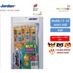 Jordan Kids Buddy ( 5 -10 years old ) Soft Toothbrush Buy 2 FREE 1 ( TRIPLE PACK ) FOC 1 Jordan Maskot Mask [ Gentle on gums / With toothpaste indicator ]